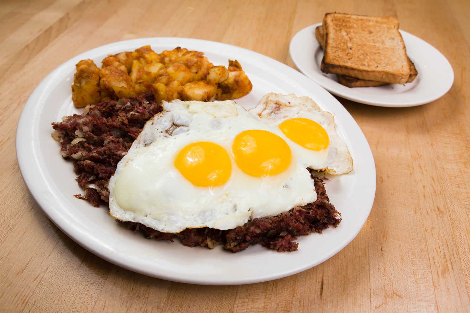 Corned Beef Hash with Eggs & Home Fries